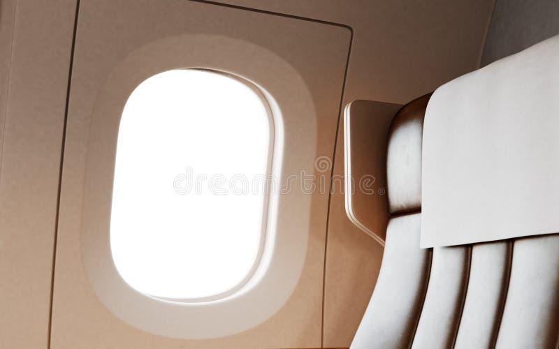 Fond vide de chaise en cuir à l'intérieur de jet privé d'avion de première classe d'intérieur Bloc d'éclairage blanc vide Mockup  illustration libre de droits