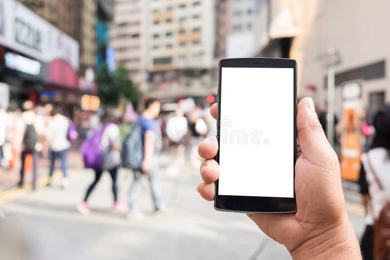 Fond vide de tache floue de téléphone portable et de personnes Tecnology photographie stock
