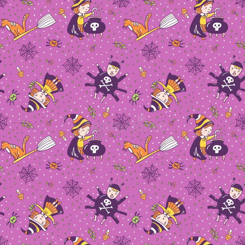 Fond violet avec la sorcière, une araignée et un breuvage magique des herbes magiques illustration stock