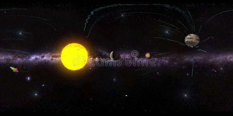 Fond virtuel de reaility de panorama d'espace extra-atmosphérique illustration stock