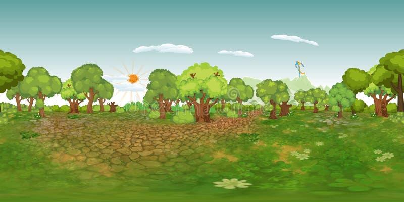 Fond virtuel de reaility de panorama de forêt dans le jour normal illustration libre de droits