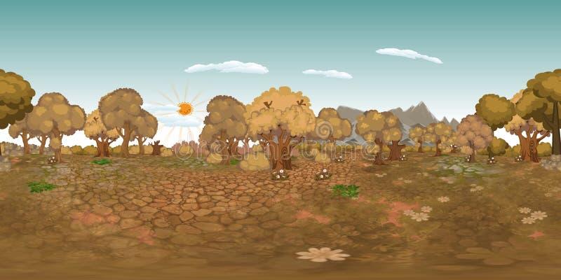 Fond virtuel de reaility de panorama de forêt en automne illustration stock