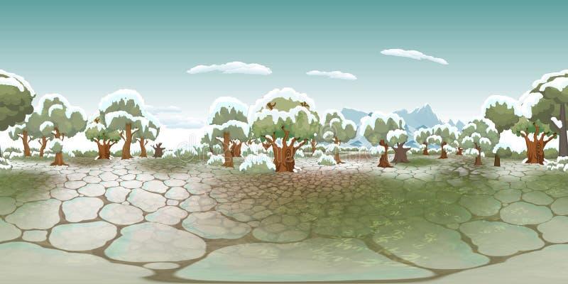Fond virtuel de reaility de panorama de forêt en hiver illustration stock