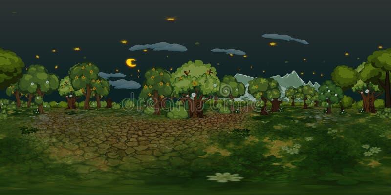 Fond virtuel de reaility de panorama de forêt la nuit illustration de vecteur
