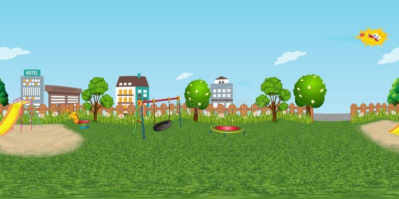 Fond virtuel de reaility de panorama de terrain de jeu d'enfants dans le jour normal illustration libre de droits
