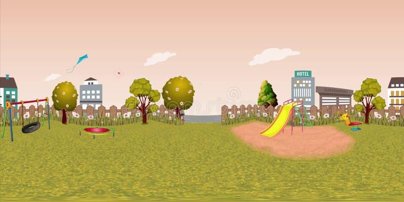 Fond virtuel de reaility de panorama de terrain de jeu d'enfants en automne illustration libre de droits