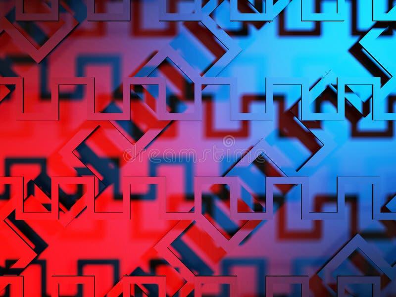 Fond virtuel de rouge bleu d'abrégé sur tecnology illustration de vecteur