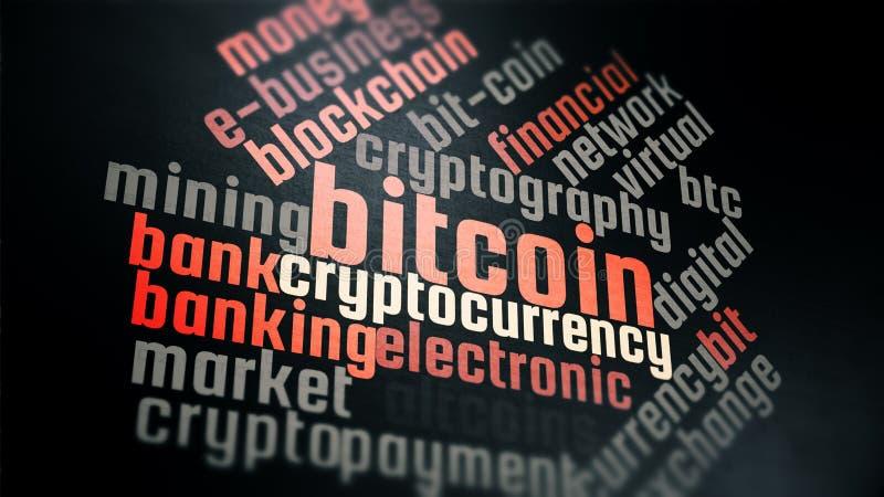 Fond virtuel de wordcloud de Bitcoin de cryptocurrency image stock