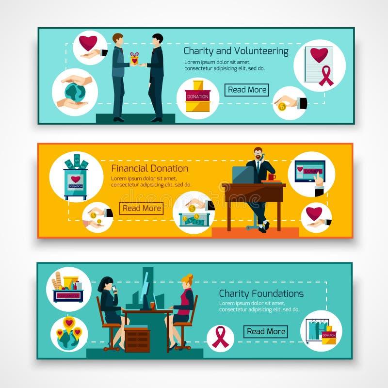 Fondamenti di carità 3 insegne piane messe illustrazione di stock