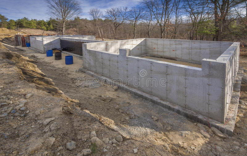 Fondamento Concreto Per Una Nuova Casa Fotografia Stock