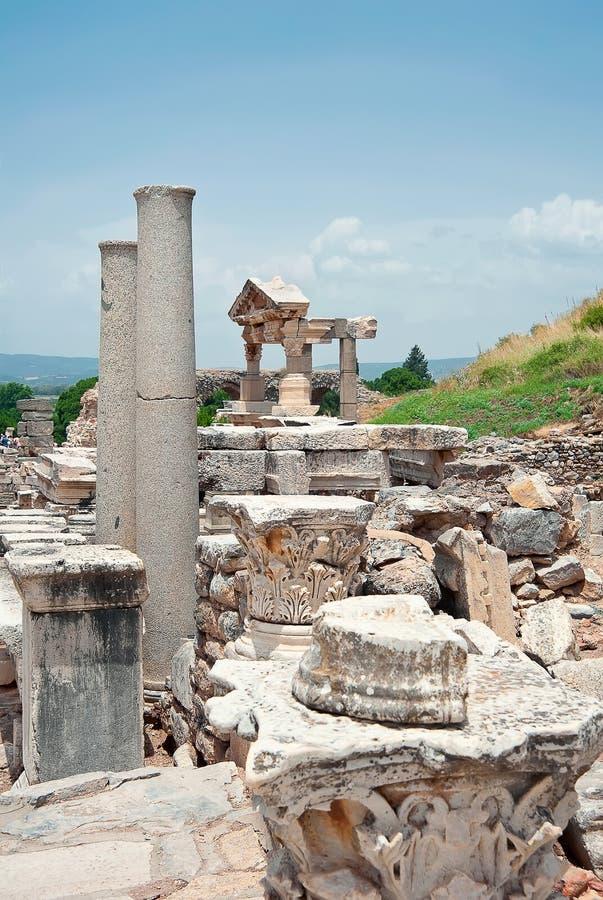 Fondamento Di Traiano In Ephesus, Turchia Immagini Stock