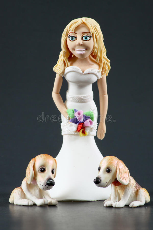 Download Fondant Bride And Dogs Wedding Cake Topper Stock Photo - Image of ornate, brown: 15492912
