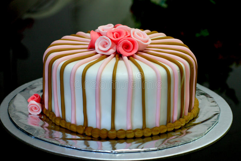 Fondant cake for birthday stock photo
