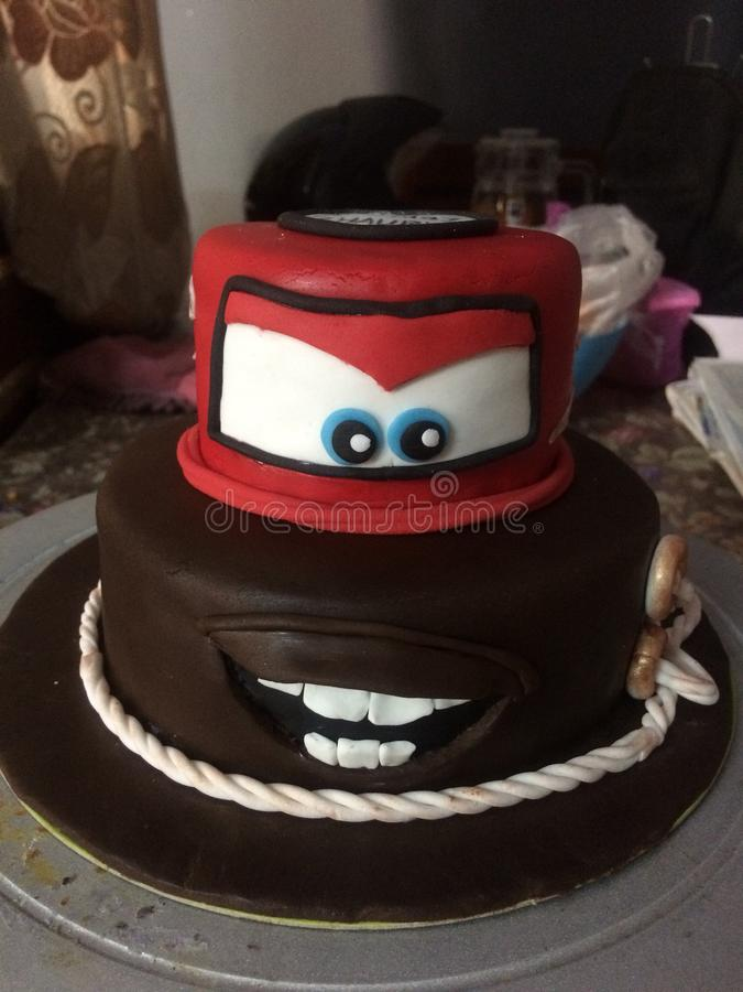 Fondant cake. Character from cars mator stock photo