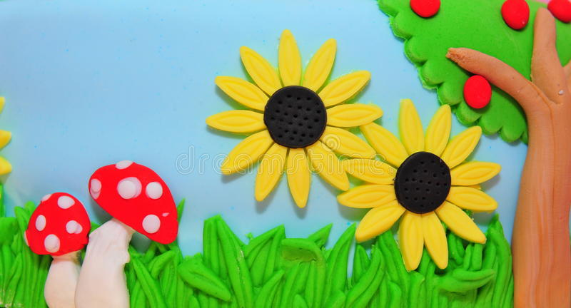 Fondant cake details. Nature in the summer theme cake stock photography