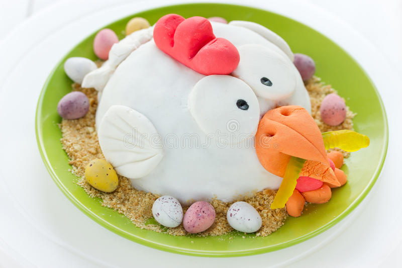 Fondant cake Easter chicken in nest royalty free stock photos