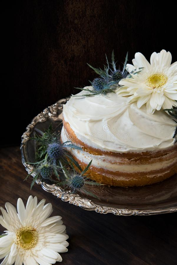Fondant Cake Whipped With White Icing and Topped With White Petaled Flower on Grey Stainless Steel Plate royalty free stock image