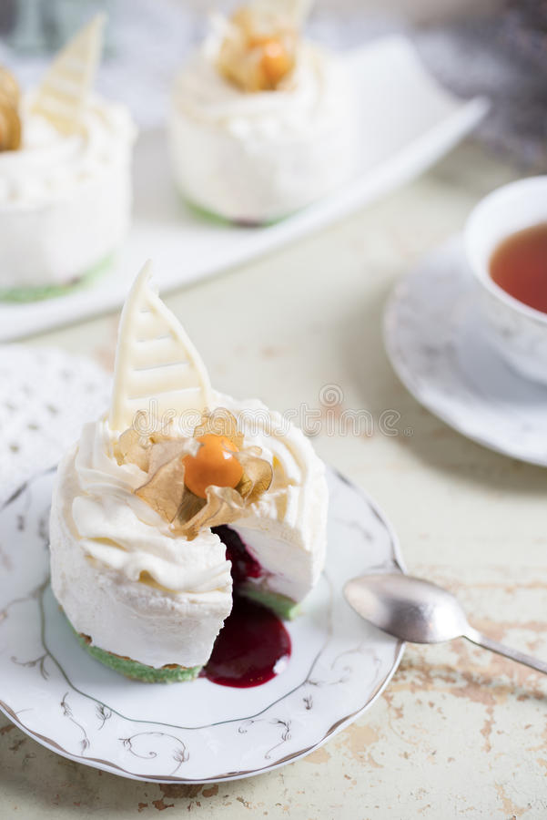 Fondant lava cake with strawberries jam. Selective focus. Restaurant dessert menu background stock photos