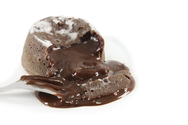 Fondantau chocolat stockfotos