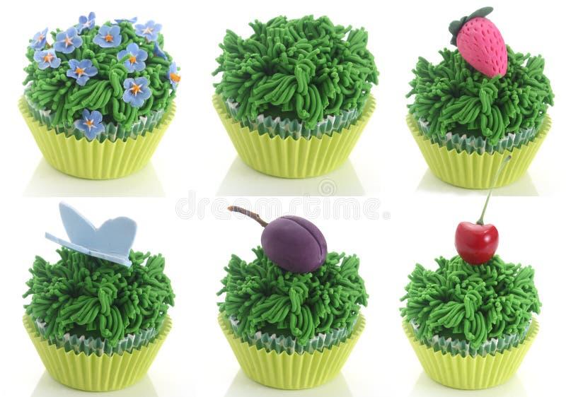 Fondantjegras cupcakes royalty-vrije stock foto's