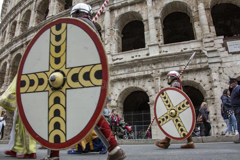 Fondare di Roma: parata tramite le vie di Roma fotografie stock libere da diritti