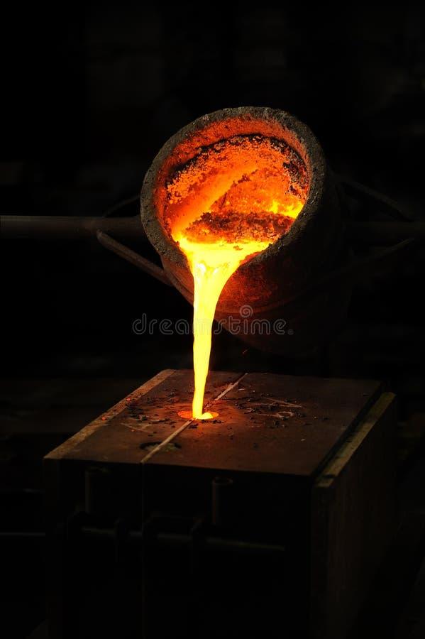 Fonderia - il metallo fuso ha versato dalla siviera in moul fotografia stock