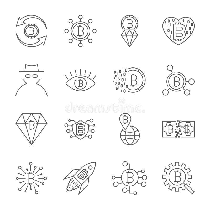 Fondi Digital, linea icone, desi minimo di vettore del bitcoin del pittogramma illustrazione vettoriale