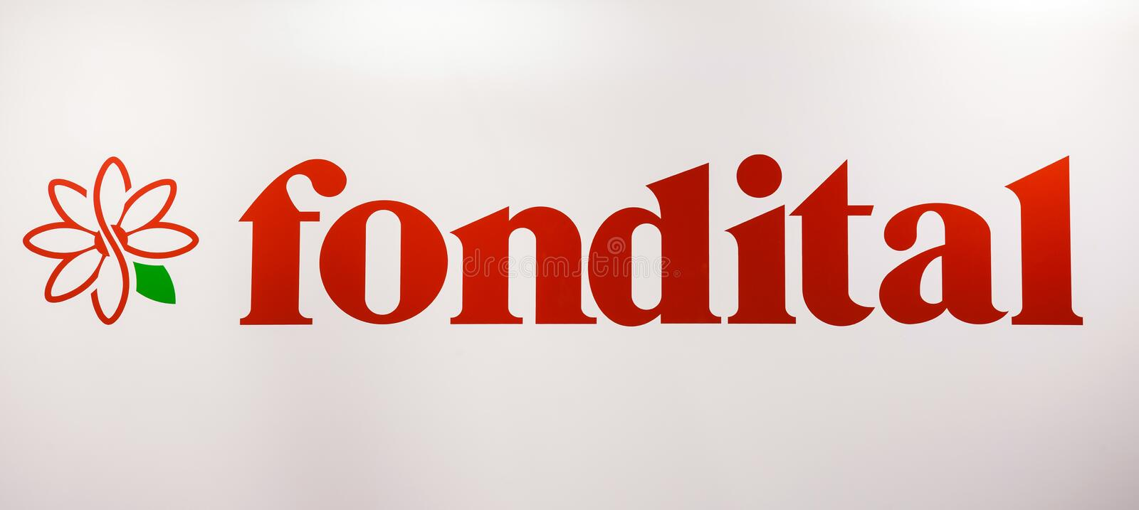 Fondital company logo. Sticker letters on the white wall. Moscow, Russia - February, 2016: Fondital company logo. Sticker letters on the white wall. Company is royalty free stock photo