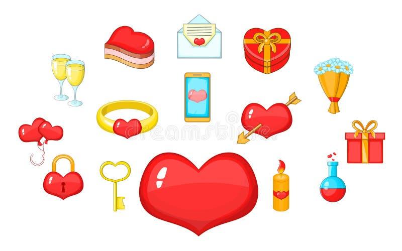 Fondness geplaatste pictogrammen, beeldverhaalstijl stock illustratie