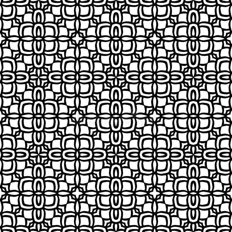 Fondo ético completamente llenado del estampado de plores en blanco negro de n ilustración del vector