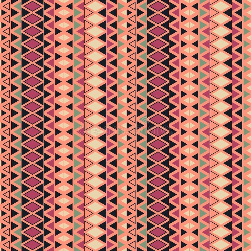 Fondo étnico del modelo con los elementos geométricos Textura geométrica de repetición simple Fondo colorido inconsútil ilustración del vector