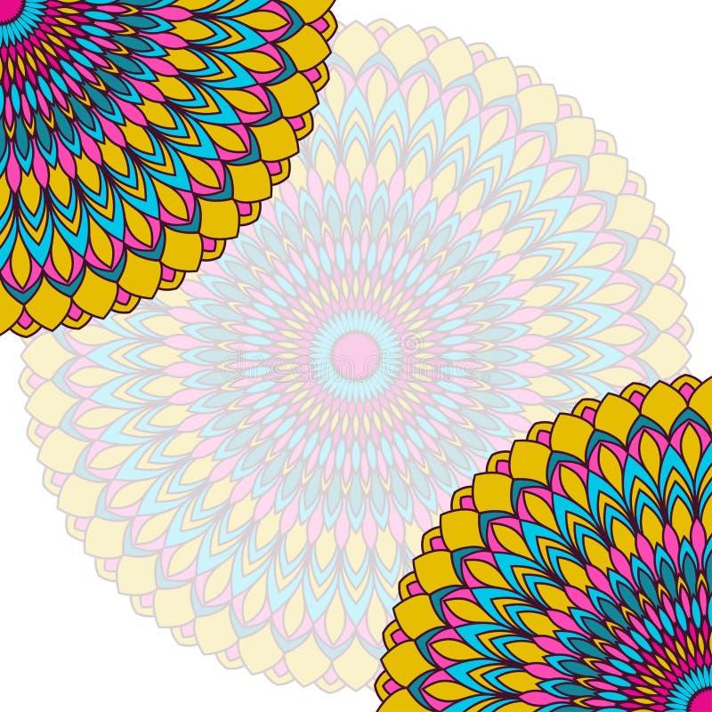 Fondo étnico dibujado mano de la tarjeta del cordón Plantilla abstracta ornamental ilustración del vector