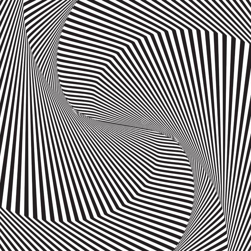 Fondo óptico del arte o modelo geométrico moderno del vector de la ilusión óptica stock de ilustración