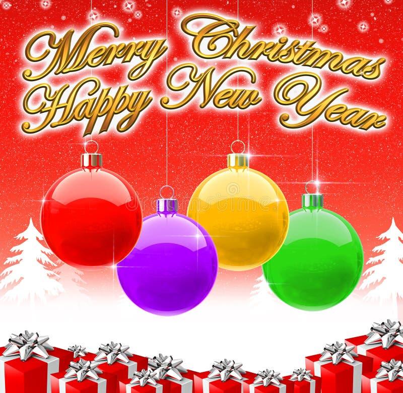 Fondo 2009 de la Feliz Navidad y de la Feliz Año Nuevo stock de ilustración