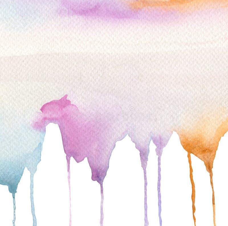 Fondo abajo pintado abstracto del flujo de la acuarela fotografía de archivo libre de regalías