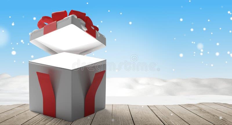 Fondo abierto de la caja 3d-illustration de la sorpresa del regalo de la Navidad stock de ilustración