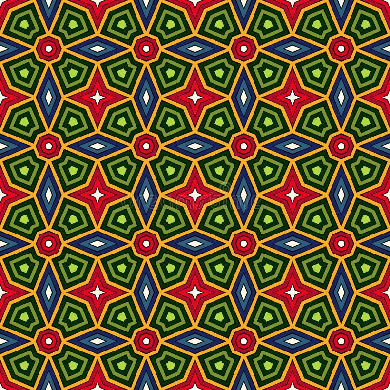 Fondo abstracto étnico brillante Modelo inconsútil del caleidoscopio con el ornamento decorativo en estilo africano stock de ilustración