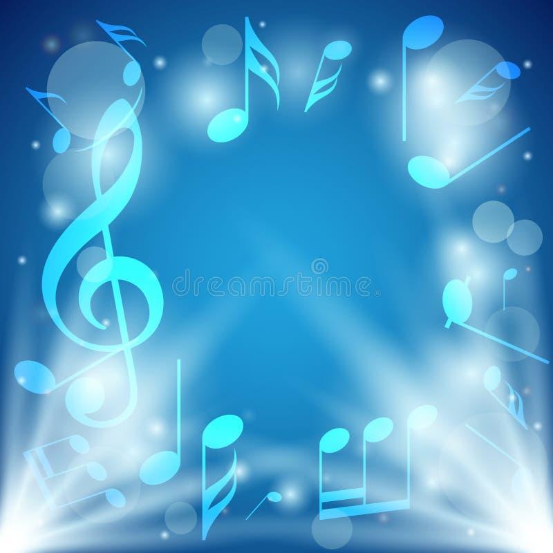 Fondo abstracto azul brillante con las notas y el bokeh ilustración del vector