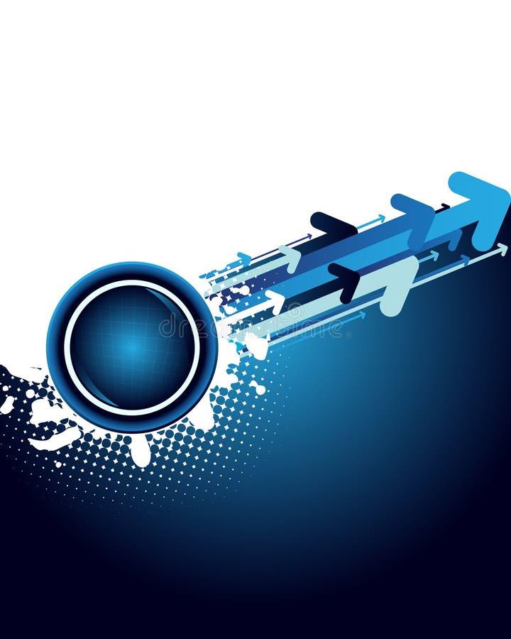 Fondo abstracto azul con las flechas ilustración del vector