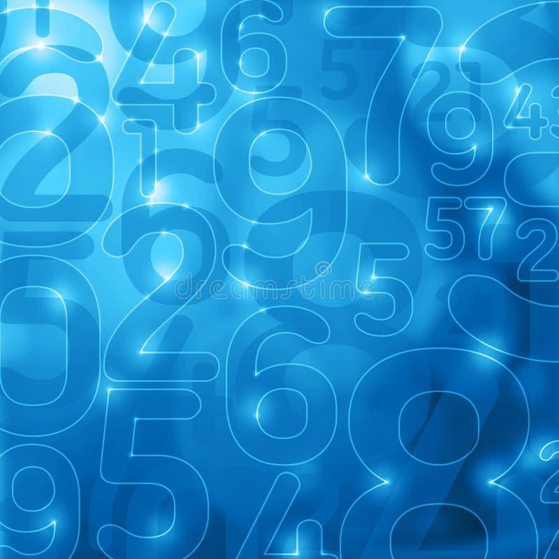 Fondo abstracto azul de la encripción de los números que brilla intensamente stock de ilustración
