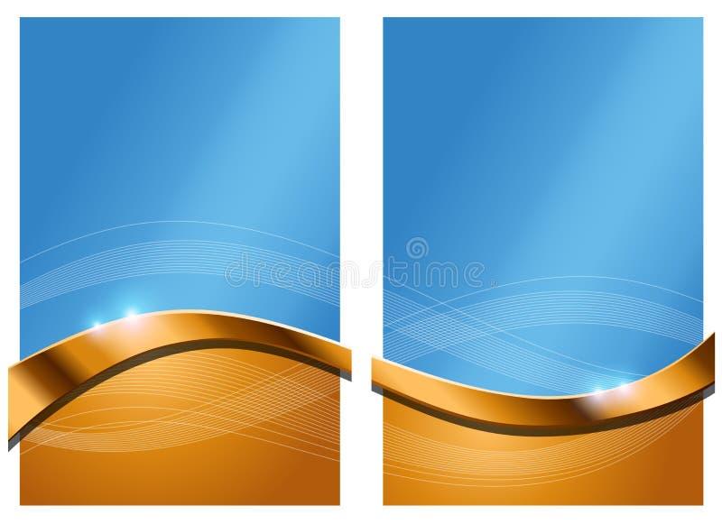 Fondo abstracto azul del oro ilustración del vector