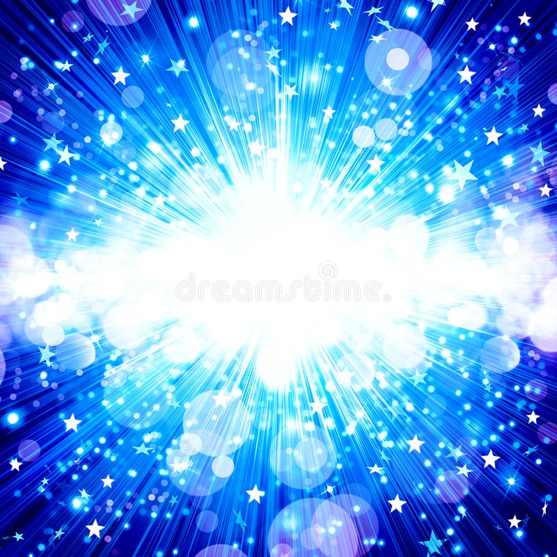 Fondo abstracto azul, explosión de la estrella, fuegos artificiales de la música, música libre illustration