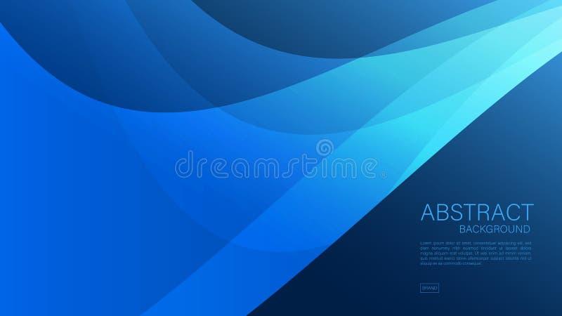 Fondo abstracto azul, onda, vector geométrico, textura gráfica, mínima, diseño de la cubierta, plantilla del aviador, bandera stock de ilustración