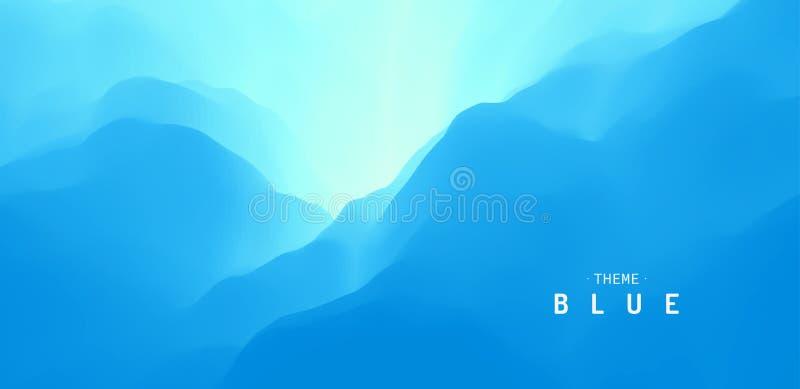 Fondo abstracto azul Superficie del agua Cielo con las nubes Paisaje con las montañas Ilustración del vector para el diseño ilustración del vector