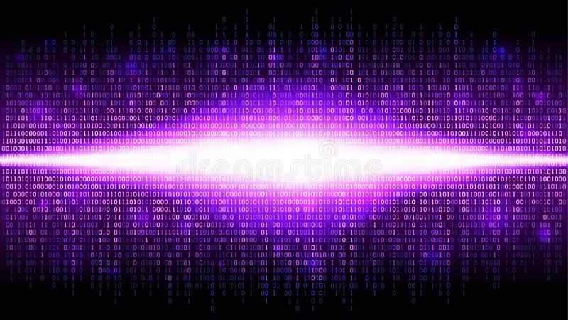 Fondo abstracto binario con la resplandor brillante en el espacio digital, nube que brilla intensamente de datos grandes stock de ilustración