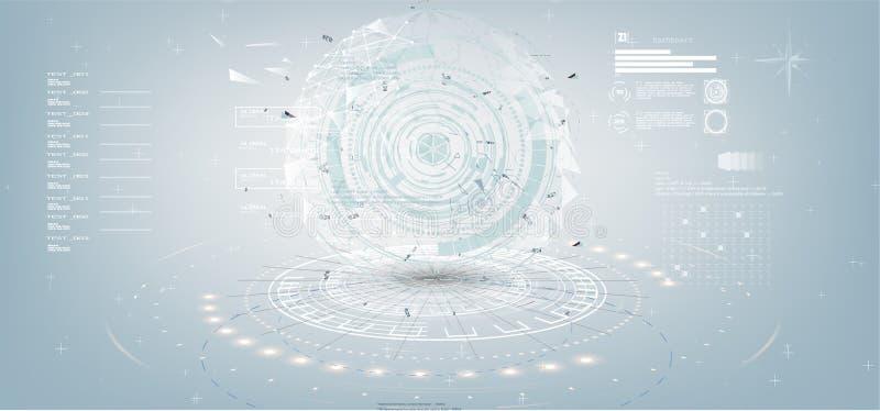 Fondo abstracto blanco gris de la tecnología con los diversos elementos de la tecnología en el estilo HUD libre illustration