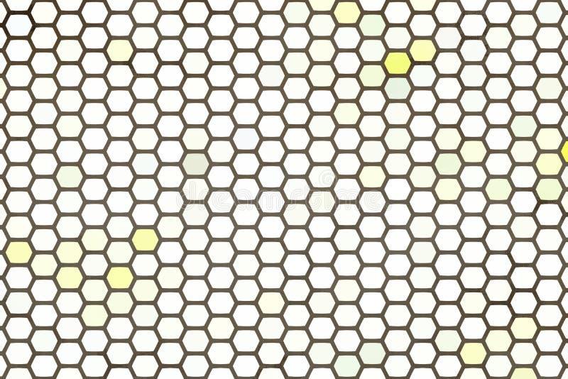 Fondo abstracto, fondo blanco y amarillo abstracto del hexágono ilustración del vector