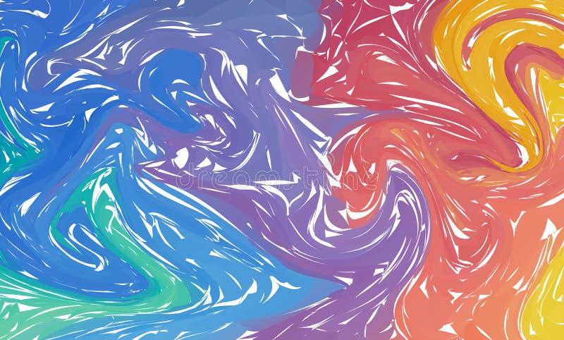 Fondo abstracto colorido dos Tinta líquida El líquido forma la composición Textura de mármol Pinte el chapoteo Tendencias moderna ilustración del vector