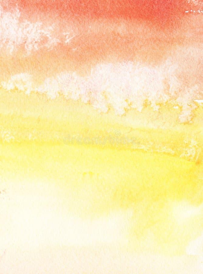 Fondo abstracto colorido Naranja, pendiente amarilla roja Cielo con las nubes Mano dibujada con la acuarela en un papel texturiza ilustración del vector