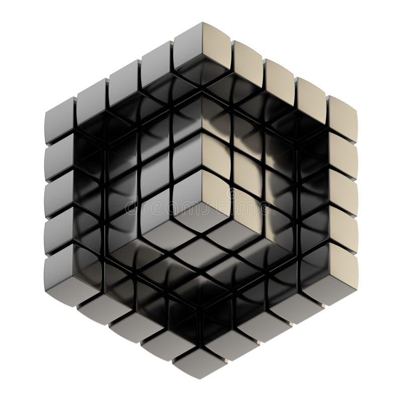 Fondo abstracto como estructura del cubo stock de ilustración